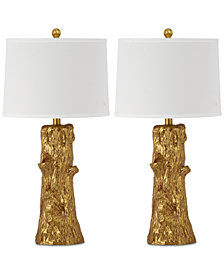 Safavieh Set of 2 Arcadia Faux Bois Gold-Tone Table Lamps