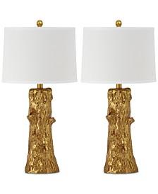 Safavieh Set of 2 Arcadia Faux Bois Gold-Tone Table Lamps