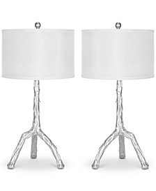 Set of 2 Branch Silver-Finish Table Lamps