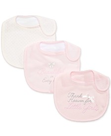 Baby Girls 3-Pk. Dots & Bows Bibs, Created for Macy's