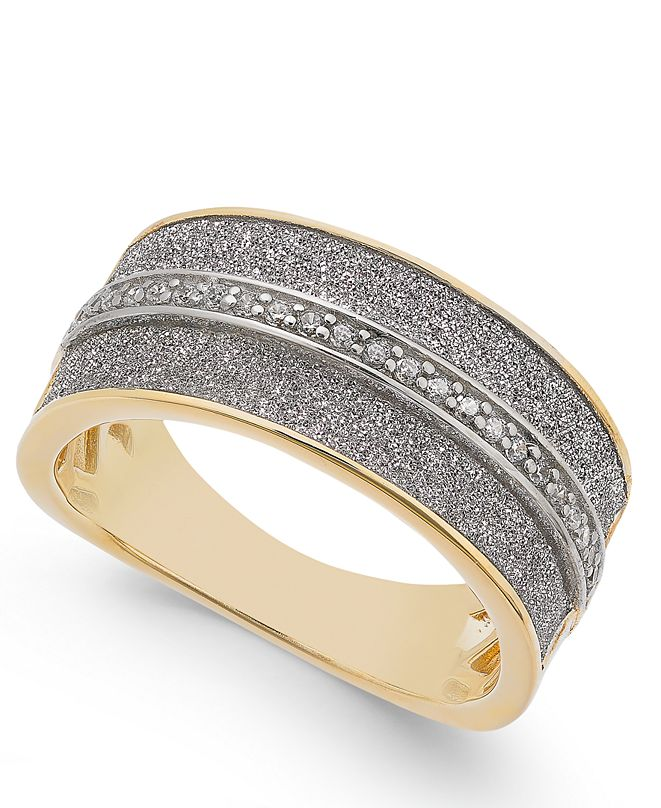 Macy's Diamond Glitter Ring (1/8 ct. t.w.) in 18k Gold-Plated Sterling Silver