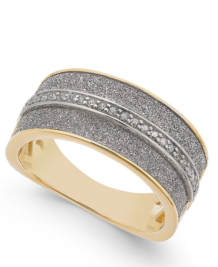 Macy's - Diamond Glitter Ring (1/8 ct. t.w.) in 18k Gold-Plated Sterling Silver