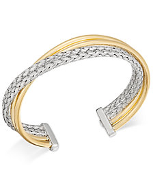 Two-Tone Overlap Cuff Bangle Bracelet