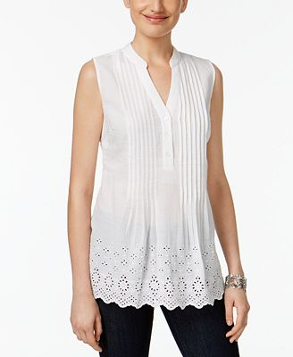 Style & Co Cotton Eyelet-Embroidered Pleated Top, Created for Macy's