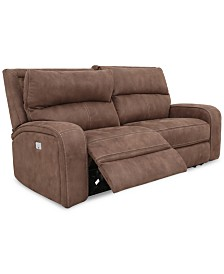 "CLOSEOUT! Brant 80"" 2-Pc. Fabric Power Reclining Sofa With 2 Power Recliners, Power Headrests And USB Power Outlet"