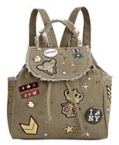 Steve Madden Wilson Medium Canvas Backpack with Patches & Pins