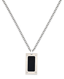 Sutton by Rhona Sutton Men's Two-Tone Stainless Steel Dog Tag Pendant Necklace