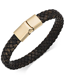 Sutton by Rhona Sutton Men's Stainless Steel Leather Bracelet