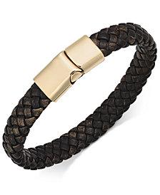 Sutton By Rhona Men S Stainless Steel Leather Bracelet