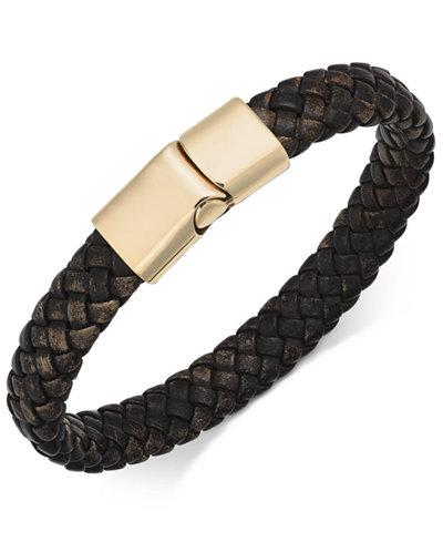 Sutton by Rhona Sutton Men's Stainless Steel Leather Bracelet