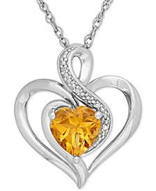 Birthstone Gemstone & Diamond Accent Heart Pendant Necklace in Sterling Silver