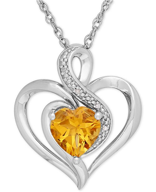 Macy's Citrine (1-1/10 ct. t.w.) & Diamond Accent Heart Pendant Necklace in Sterling Silver