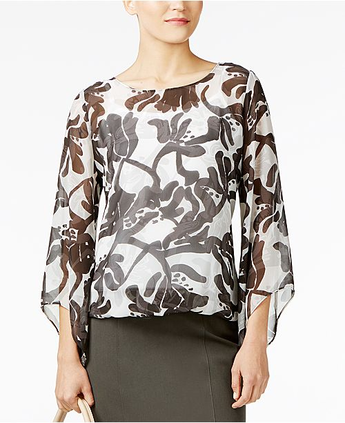 Alfani Petite Printed Angel-Sleeve Bubble Top, Created for Macy's