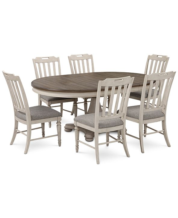 Furniture Barclay Expandable Round Pedestal Dining, 7-Pc. Set (Round Dining Pedestal Table & 6 Upholstered Side Chairs)