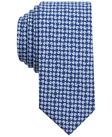 Bar III Men's Diamond Flower Mini Print Skinny Tie, Created for Macy's