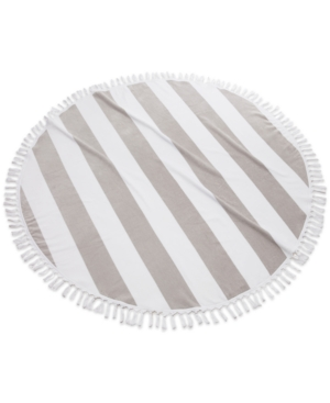 Image of Cassadecor Round Stripe Fringe Cotton Beach Towel Bedding