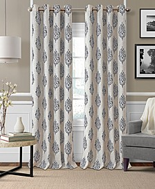 "Navara Medallion Print Linen 52"" x 95"" Blackout Curtain Panel"
