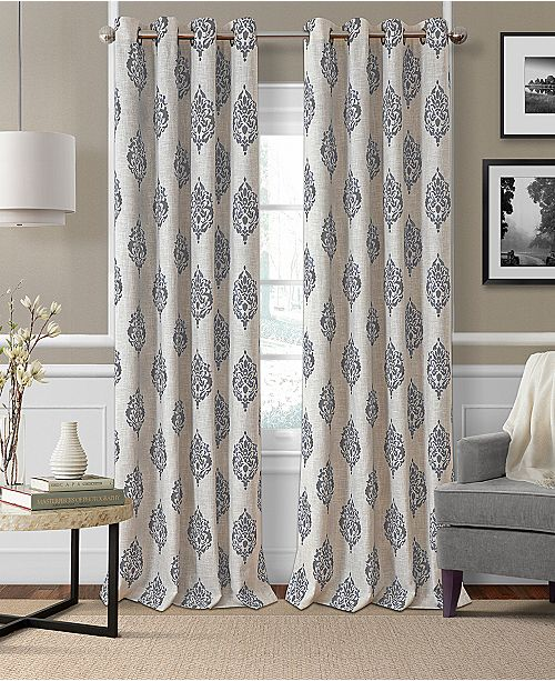 "Elrene Navara Medallion Print Linen 52"" x 84"" Blackout Curtain Panel"
