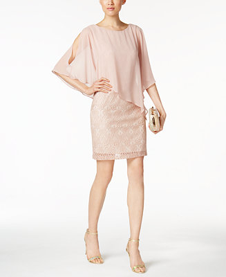 Connected Lace Cold Shoulder Cape Dress Dresses Women