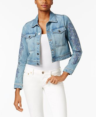Calvin Klein Jeans Embroidered Cropped Denim Jacket - Jackets ...