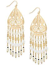 INC International Concepts Gold-Tone Beaded Filigree Drop Earrings, Created for Macy's