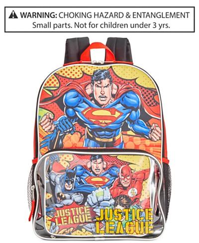 DC Comics Justice League Backpack & Lunch Bag, Little Boys (2-7) & Big Boys (8-20)