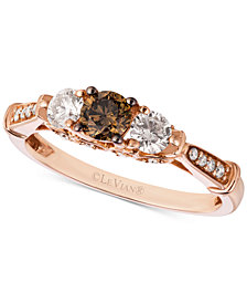 Le Vian Chocolatier® Diamond Trinity-Style Ring (5/8 ct. t.w.) in 14k Rose Gold