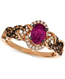 Le Vian Chocolatier® Certified Ruby (1 ct. t.w.) & Diamond (1/4 ct. t.w.) Ring in 14k Rose Gold