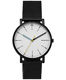 Skagen Men's Signature Black Stainless Steel Mesh Bracelet Watch 40mm SKW6376