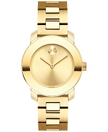 Movado Women's Swiss Bold Yellow Gold-Tone Stainless Steel Bracelet Watch 30mm 3600434