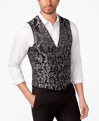 INC International Concepts Men's Slim-Fit Jacquard Vest, Created for Macy's