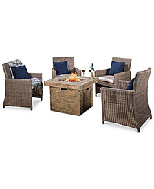 Aldin Dining Chair and Square Gas Fire Pit Set, Quick Ship