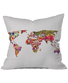 """Deny Designs Bianca Green It's Your World 16"""" Square Decorative Pillow"""