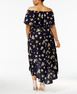 Off the Shoulder Plus Size Maxi Dresses