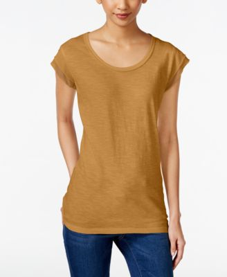 Image of Style & Co Chiffon-Trim T-Shirt, Only at Macy's