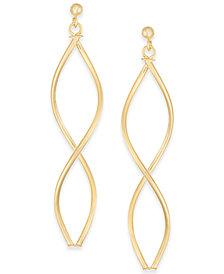 Double Oval Twist Drop Earrings in 14k Gold