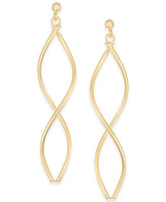 Macy S Double Oval Twist Drop Earrings In 14k Gold Earrings