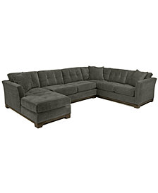 Elliot Fabric Microfiber 3-Piece Chaise Sectional Sofa - Custom Colors, Created for Macy's