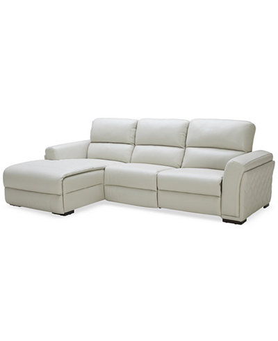 CLOSEOUT! Jessi 3-Pc Leather Sectional Sofa with Chaise and 2 Power Recliners, Created for Macy's