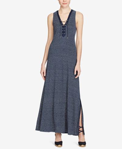 Lauren Ralph Lauren Lace-Up Linen Dress