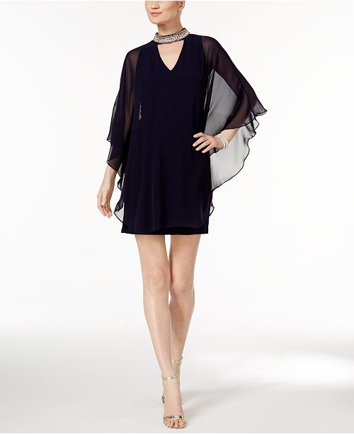 e3817097892 XSCAPE Capelet Sheath Dress   Reviews - Dresses - Women - Macy s