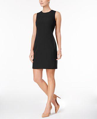 Anne Klein Executive Collection Shawl Collar Sleeveless Sheath Dress