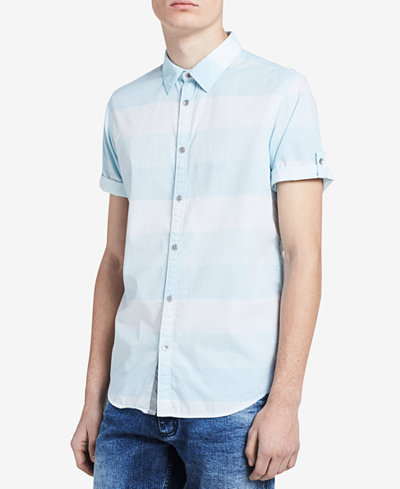 Calvin Klein Jeans Men's Two-Tone Striped Shirt - Casual Button ...