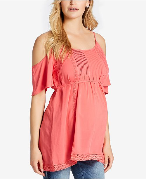 5bfd2b66db Jessica Simpson Maternity Cold-Shoulder Top   Reviews - Maternity ...