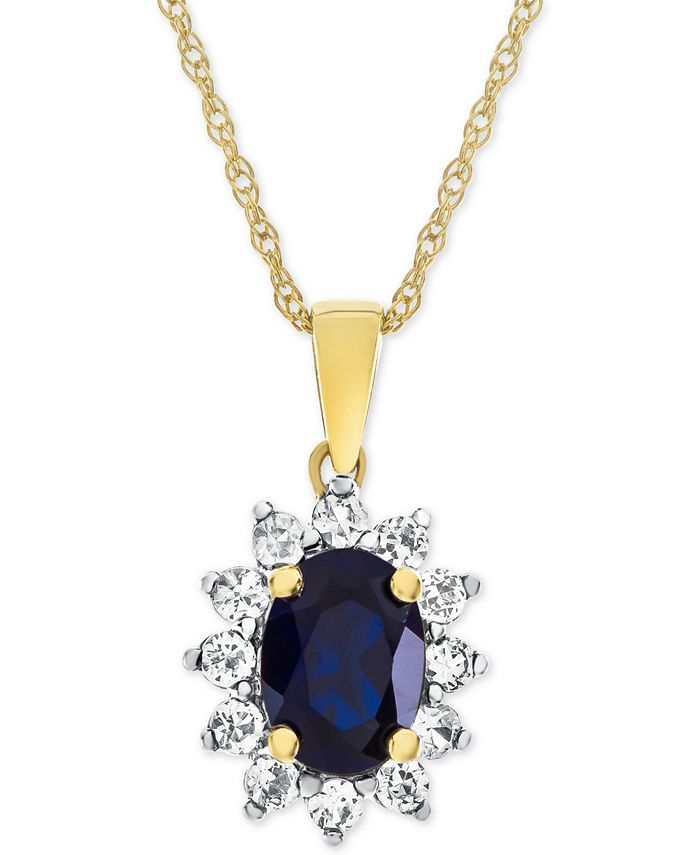 Macy's - Lab-Created Blue Sapphire (1-1/3 ct. t.w.) & White Sapphire (1/2 ct. t.w.) Pendant Necklace in 14k Gold-Plated Sterling Silver