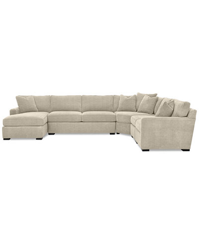 Radley 5 piece fabric chaise sectional sofa created for for 5 piece sectional sofa with chaise