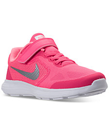 Nike Little Girls' Revolution 3 Stay-Put Closure Running Sneakers from Finish Line