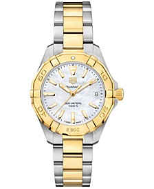 Women's Swiss Aquaracer Stainless Steel & 18k Yellow Gold Bracelet Watch 32mm