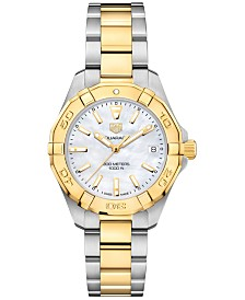 TAG Heuer Women's Swiss Aquaracer Stainless Steel & 18k Yellow Gold Bracelet Watch 32mm