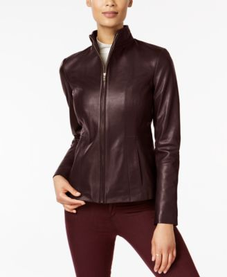 Signature Petite Leather Moto Jacket